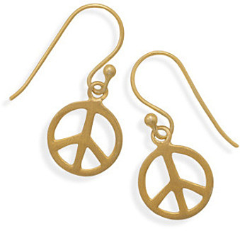 14 Karat Gold Plated Peace Sign Earrings 925 Sterling Silver