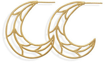 14 Karat Gold Plated Crescent Moon Hoops 925 Sterling Silver