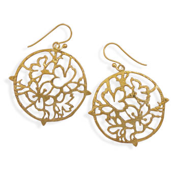 14 Karat Gold Plated Cut Out Abstract Design Earrings 925 Sterling Silver - DISCONTINUED
