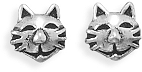 Oxidized Kitty Earrings 925 Sterling Silver