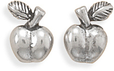 Oxidized Apple Earrings 925 Sterling Silver