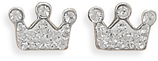 Crystal Crown Earrings 925 Sterling Silver
