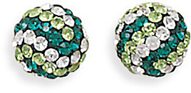 Green and White Crystal Ball Earrings 925 Sterling Silver