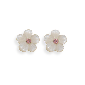 Shell and Crystal Flower Earrings 925 Sterling Silver - DISCONTINUED