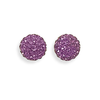 Purple Crystal Ball Earrings 925 Sterling Silver - DISCONTINUED