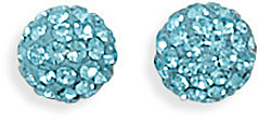 Light Blue Crystal Ball Earrings 925 Sterling Silver