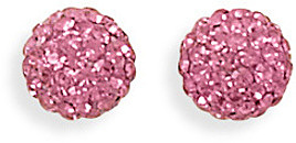 Pink Crystal Ball Earrings 925 Sterling Silver