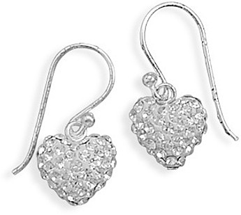 Crystal Heart Earrings 925 Sterling Silver