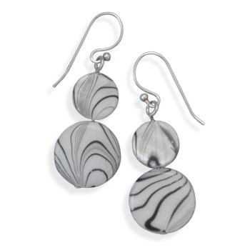 Double Shell Drop French Wire Earrings - DISCONTINUED 925 Sterling Silver
