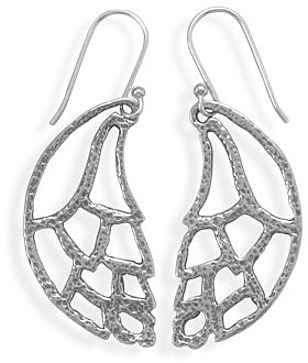 Cut Out Wing Design French Wire Earrings 925 Sterling Silver