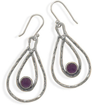 Double Pear Shape Drop Earrings with Amethyst 925 Sterling Silver