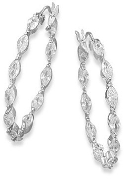 Rhodium Plated In/Out CZ Hoops 925 Sterling Silver