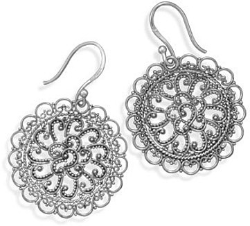 Ornate Bali Style Earrings 925 Sterling Silver