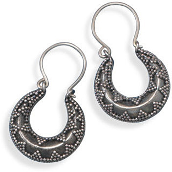 Puffy Horseshoe Shape Hoops 925 Sterling Silver
