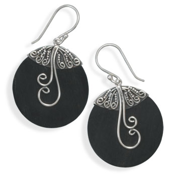 Wood with Swirl Design Earrings 925 Sterling Silver - DISCONTINUED