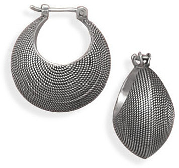 Oxidized Dot Pattern Hoops 925 Sterling Silver