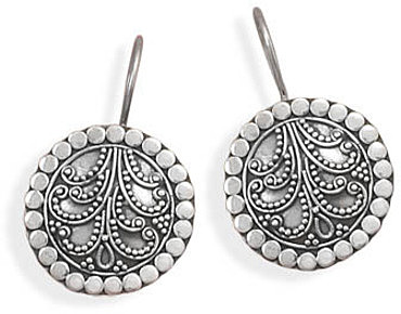 Oxidized Bead Design Bali Earrings 925 Sterling Silver - DISCONTINUED