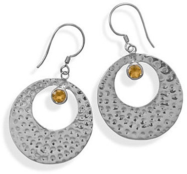 Hammered Citrine Earrings 925 Sterling Silver