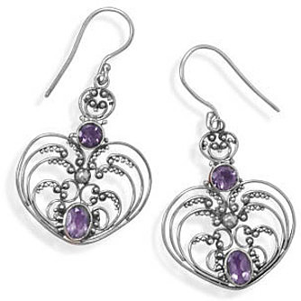 Oxidized Ornate Amethyst Earrings 925 Sterling Silver - DISCONTINUED