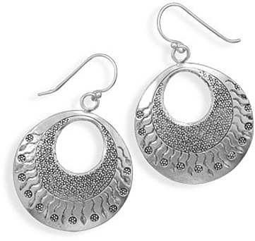 Dot and Wave Design Earrings 925 Sterling Silver