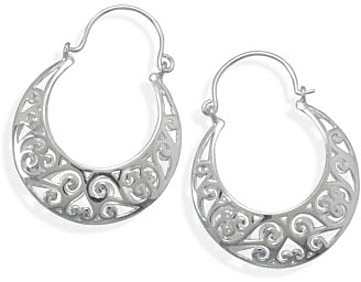 Ornate Cut Out Horseshoe Shape Earrings 925 Sterling Silver