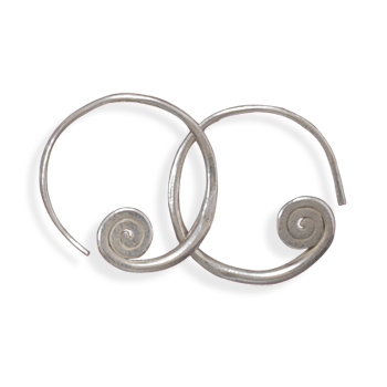 Coil Hoop Earrings 925 Sterling Silver - DISCONTINUED