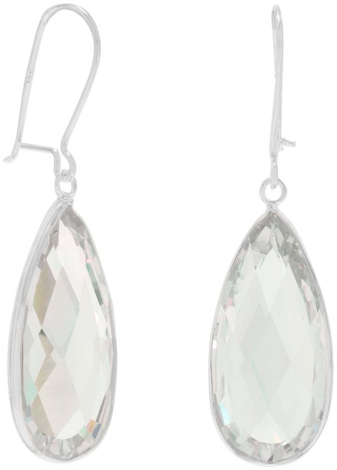 Clear CZ Drop Earrings 925 Sterling Silver