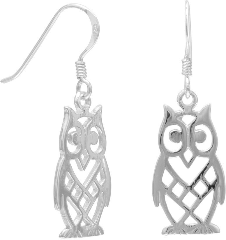 Cut Out Owl Earrings 925 Sterling Silver