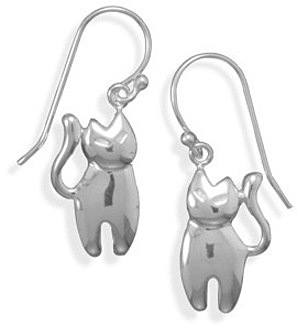 Polished Cat Earrings 925 Sterling Silver