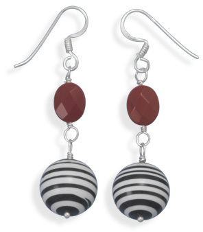 Calsilica and Glass Earrings 925 Sterling Silver - DISCONTINUED