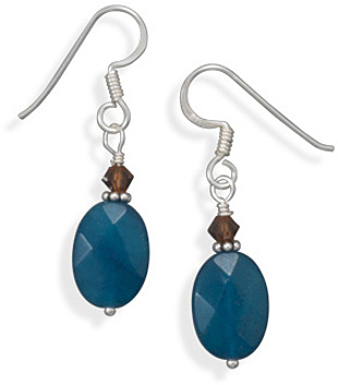 Agate and Crystal Earrings 925 Sterling Silver - DISCONTINUED