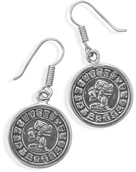 Mayan Calendar Earrings 925 Sterling Silver
