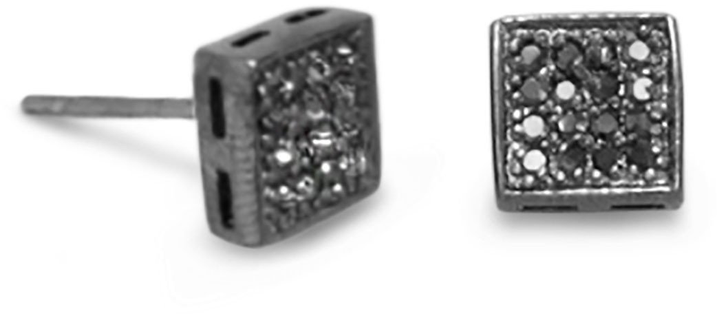 Black Rhodium Plated and CZ Stud Earrings 925 Sterling Silver