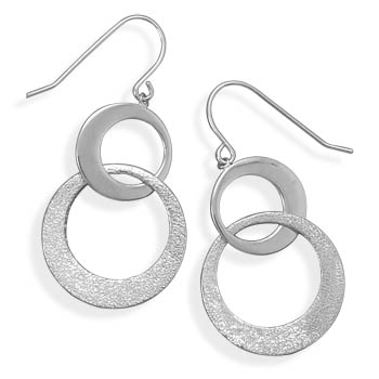 Rhodium Plated Circle Drop French Wire Earrings 925 Sterling Silver - DISCONTINUED