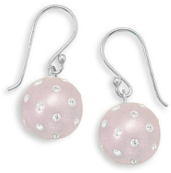 Rhodium Plated Light Pink Earrings with Crystal 925 Sterling Silver