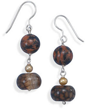 Goldstone and Agate Earrings 925 Sterling Silver