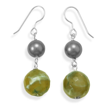 Green Agate Drop Earrings 925 Sterling Silver-DISCONTIUED - DISCONTINUED