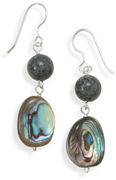 Jasper and Shell Earrings 925 Sterling Silver