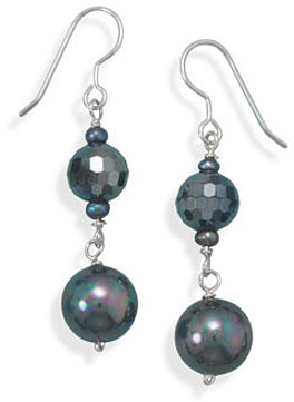 Crystal and Shell Earrings 925 Sterling Silver