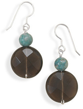 Turquoise and Smoky Quartz Earrings 925 Sterling Silver