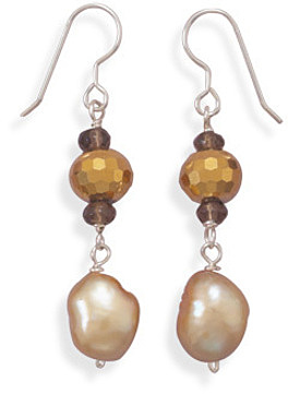 Cultured Freshwater Pearl and Gold Color Crystal Earrings 925 Sterling Silver