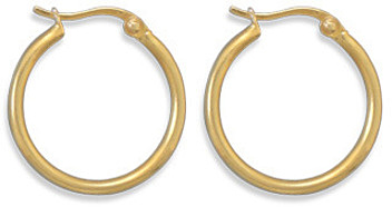 "14 Karat Gold Plated 1.5mm (0.06"") x 20mm Hoops 925 Sterling Silver"