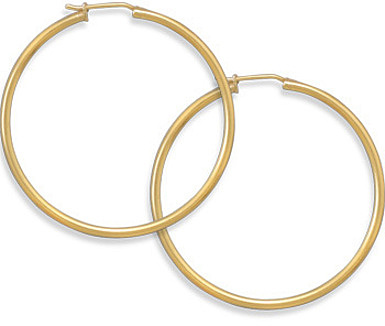 "14 Karat Gold Plated 1.5mm (0.06"") x 41mm Hoops 925 Sterling Silver"