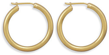 "14 Karat Gold Plated 2.8mm (1/9"") x 26mm Hoops 925 Sterling Silver"