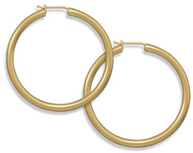 "14 Karat Gold Plated 2.8mm (1/9"") x 40mm Hoops 925 Sterling Silver"