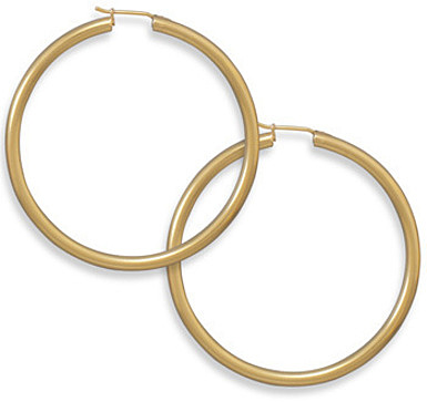 "14 Karat Gold Plated 2.8mm (1/9"") x 50mm Hoops 925 Sterling Silver"