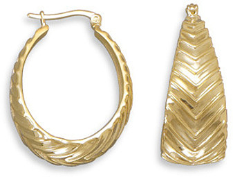 "14 Karat Gold Plated Hoops with ""V"" Pattern 925 Sterling Silver"