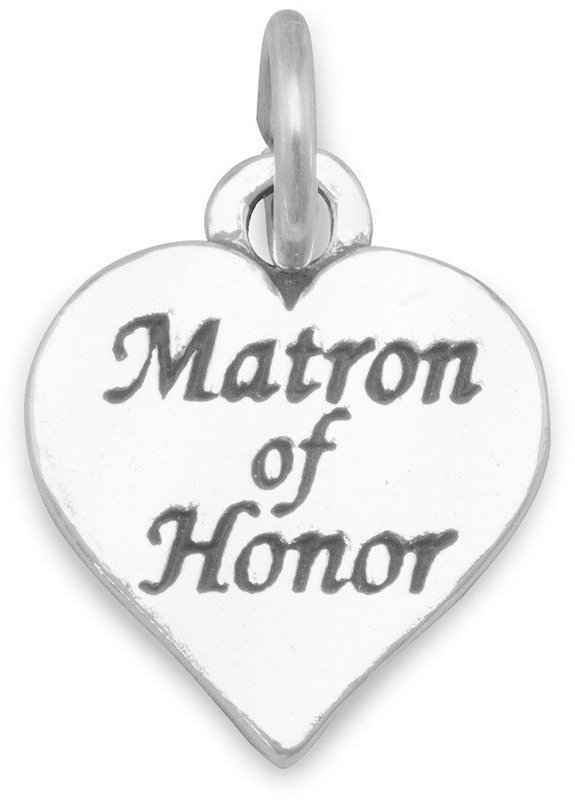 Oxidized Matron of Honor Charm 925 Sterling Silver