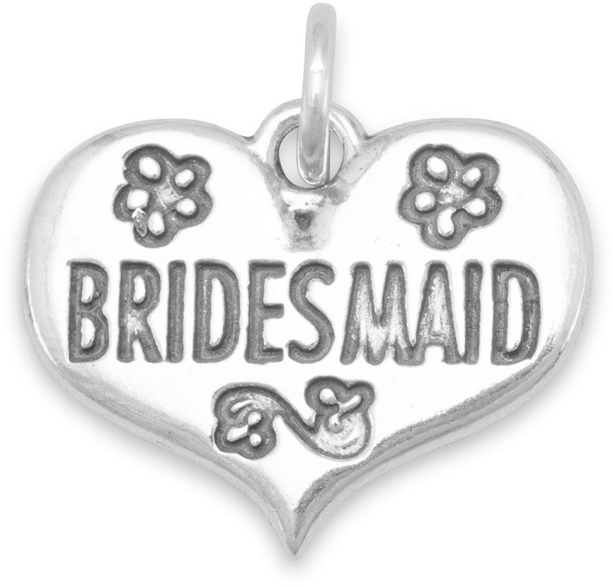 Oxidized Bridesmaid Charm 925 Sterling Silver