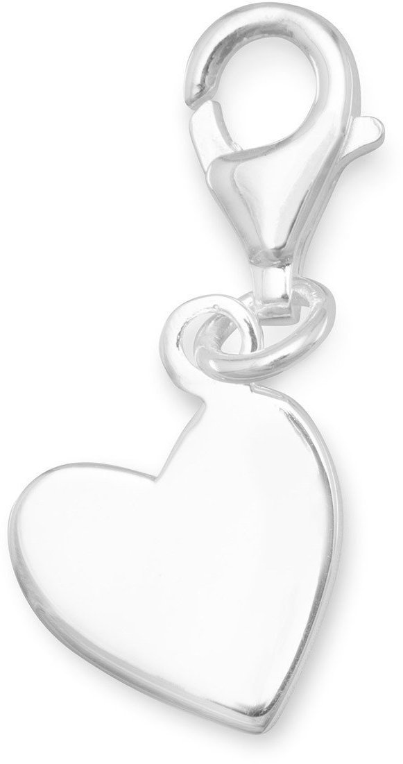 Angled Heart Tag with Lobster Clasp 925 Sterling Silver